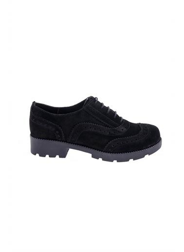 Modabuymus Modabuymus Hakiki Süet Deri  Kadın Oxford Ayakkabı - Fogli Siyah